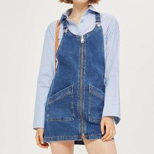 Topshop Zio Front Denim Pinafore Dress. Size 8